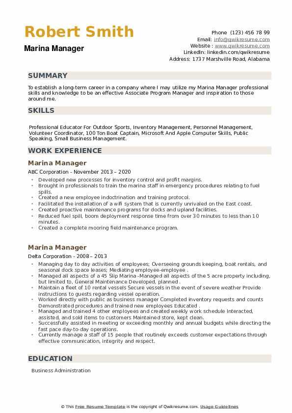 Marina Manager Resume example