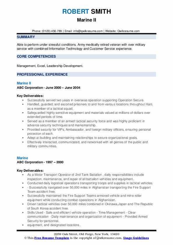 Marine Resume Samples