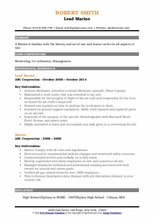 marine resume samples  qwikresume