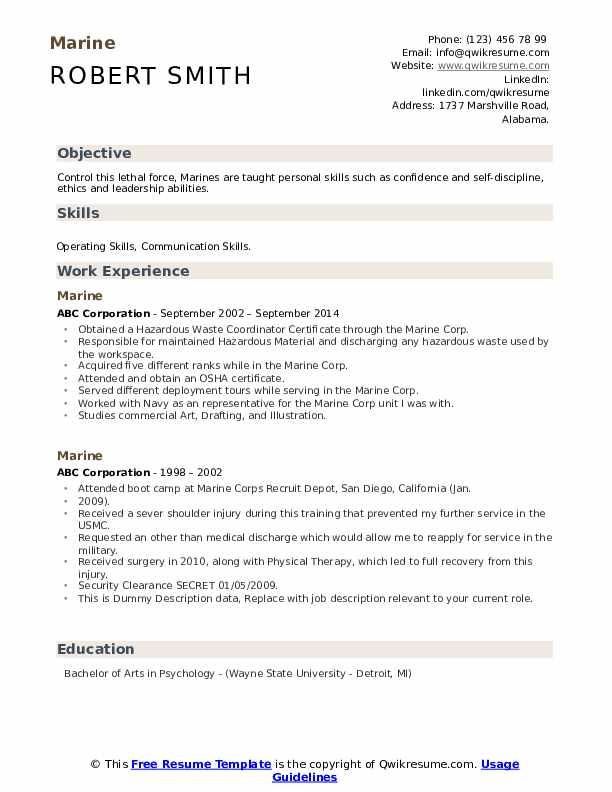 Marine Resume example