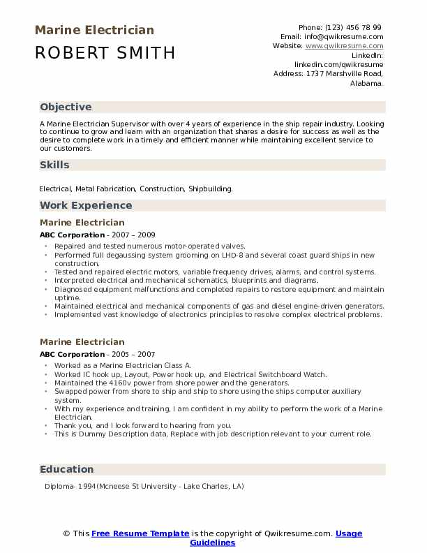 marine electrician resume samples