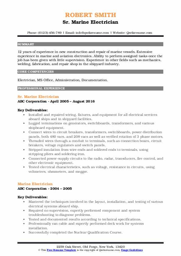 marine electrical engineer resume