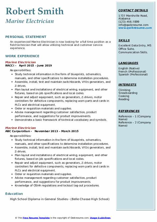 Marine Electrician Resume example