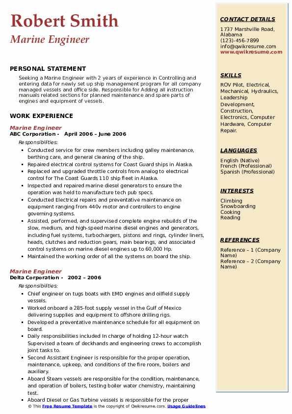 marine engineer resume samples  qwikresume