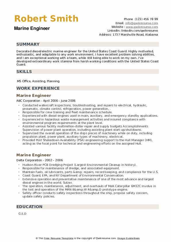 Marine Engineer Resume example