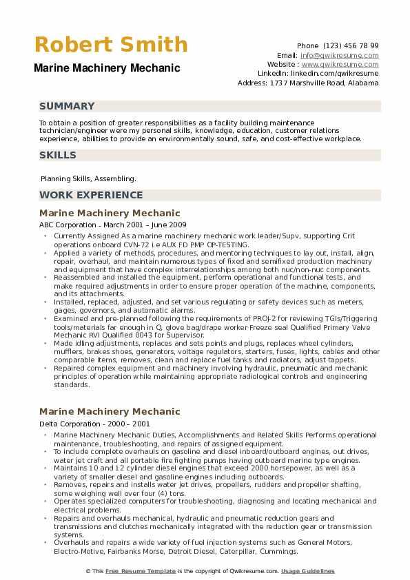 Marine Machinery Mechanic Resume example
