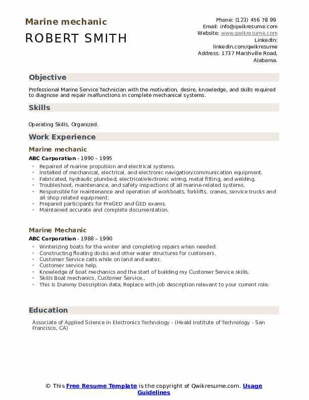 Marine Mechanic Resume example