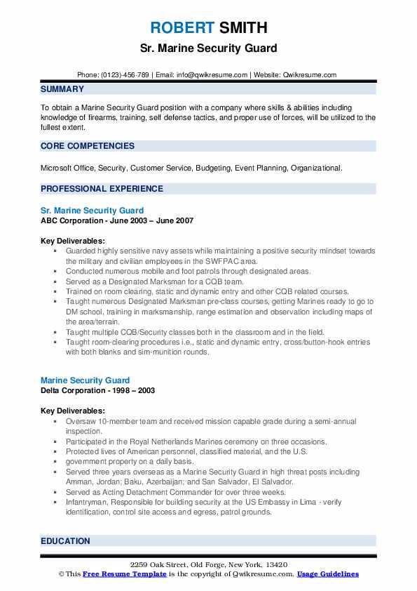 marine security guard resume samples  qwikresume