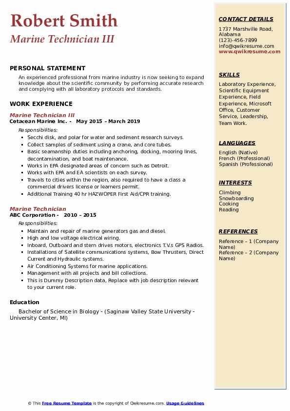 Marine Technician Resume Samples | QwikResume