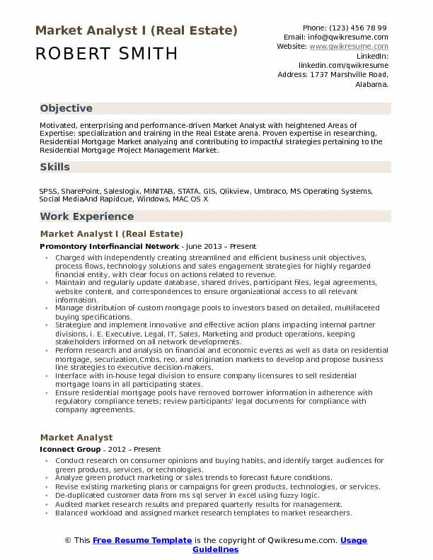 market analyst resume samples qwikresume