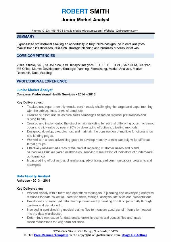 junior market analyst resume format