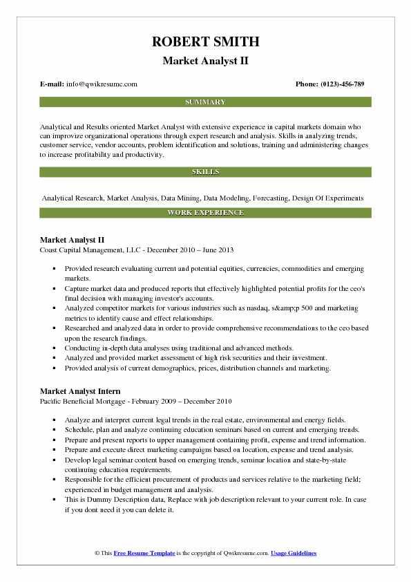 Market Analyst II Resume Format