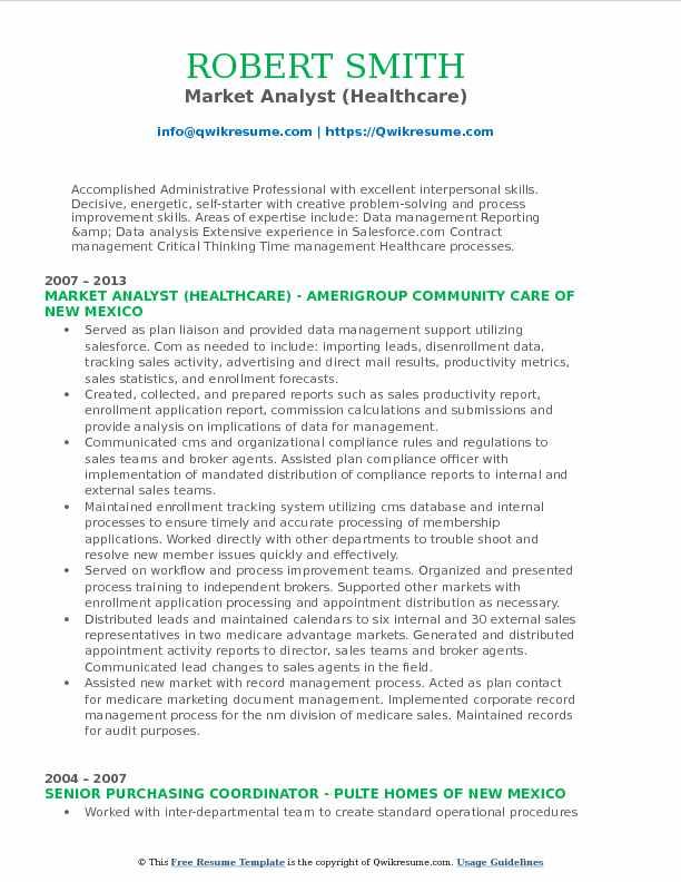 Market Analyst (Healthcare) Resume Model