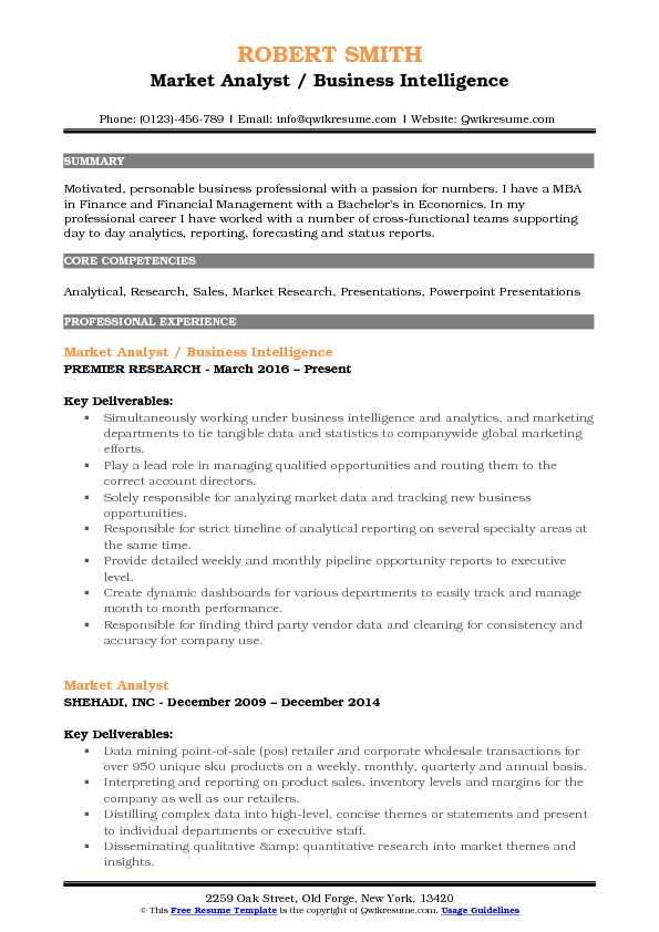 Market Analyst / Business Intelligence Resume Example