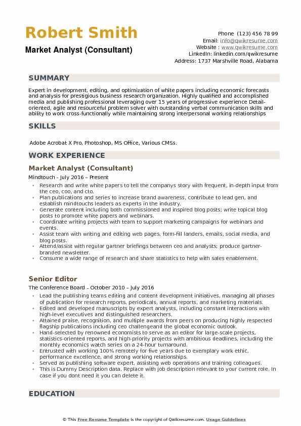 Market Analyst (Consultant) Resume Example