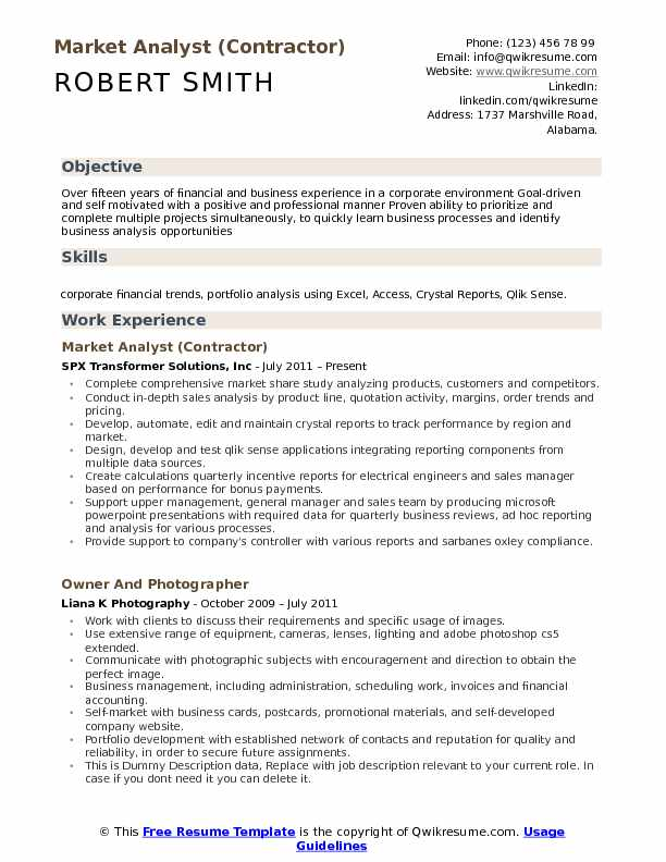 Market Analyst (Contractor) Resume Sample  Market Analyst Resume