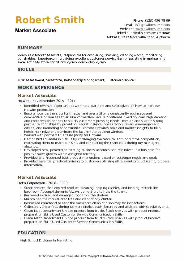 Market Associate Resume example