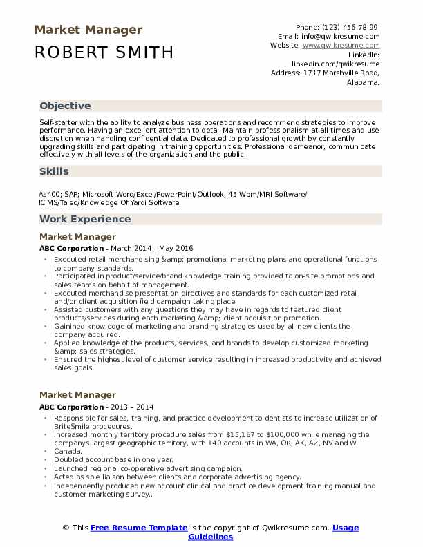 Market Manager Resume Sample