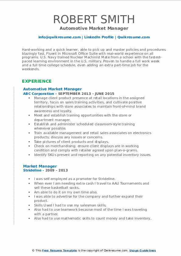 Automotive Market Manager Resume Format