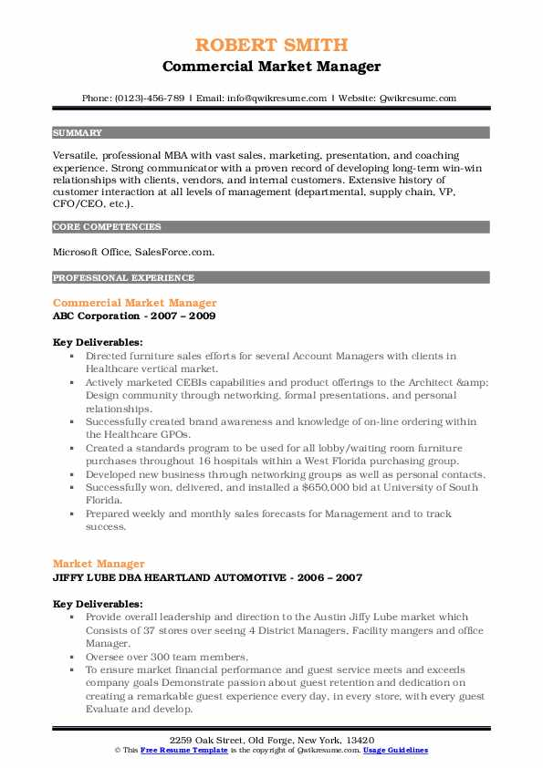Commercial Market Manager Resume Example