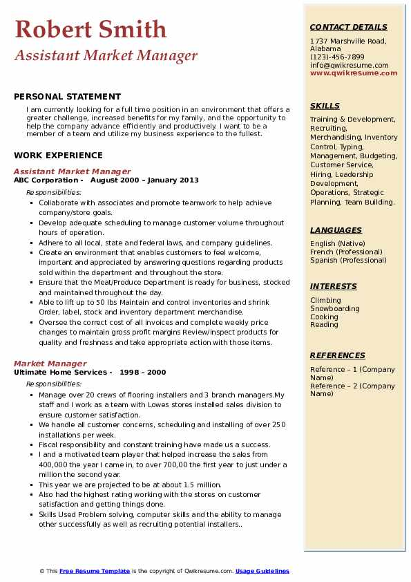 Assistant Market Manager Resume Format