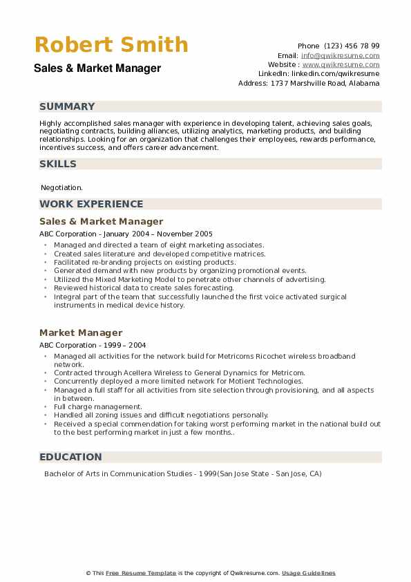 Sales & Market Manager Resume Format