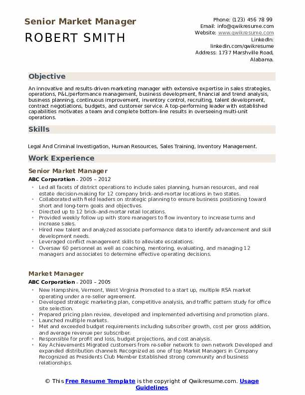 Senior Market Manager Resume Example