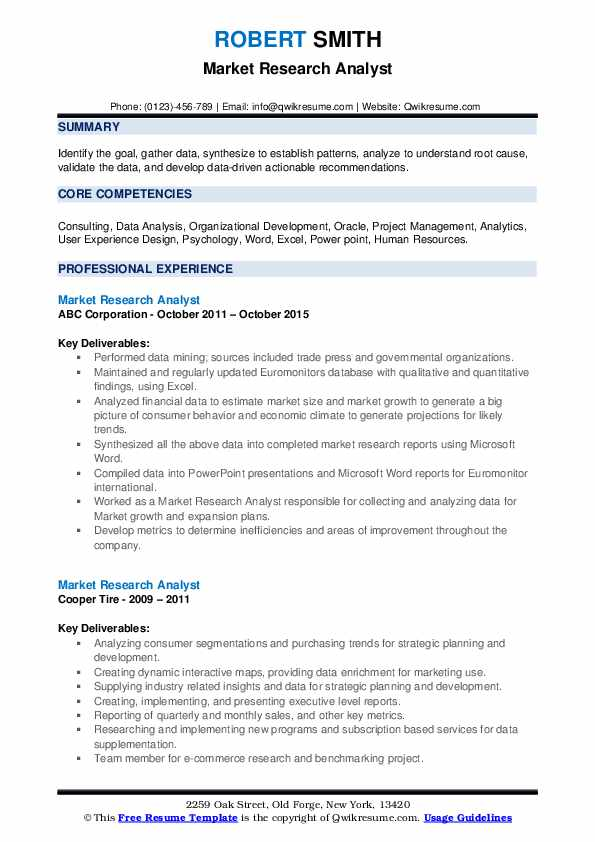 Market Research Analyst Resume example