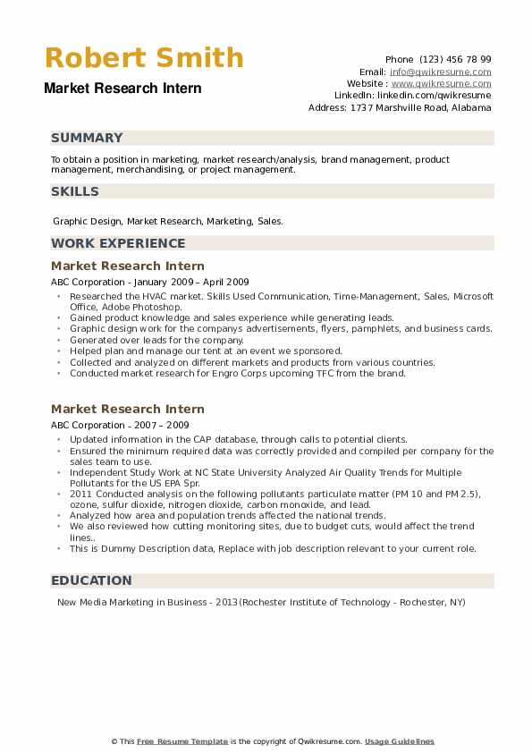 Market Research Intern Resume example
