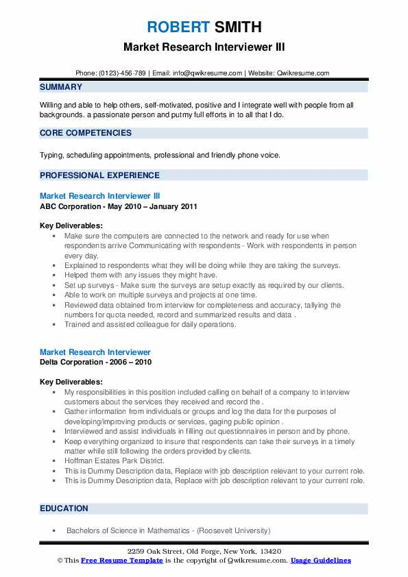 market research interviewer resume samples  qwikresume