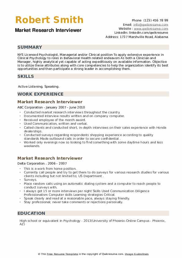 Market Research Interviewer Resume example