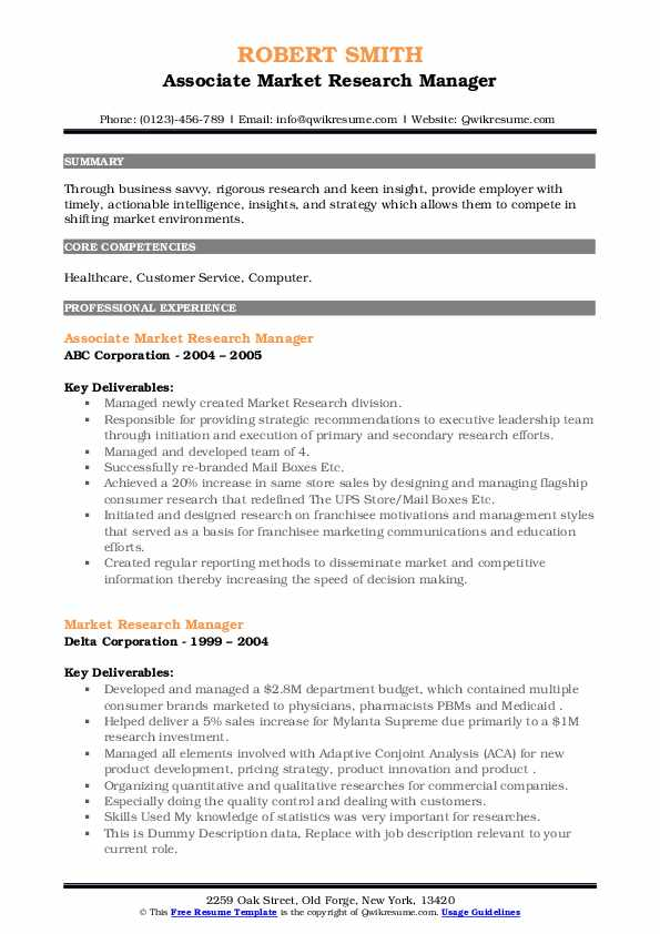 market research manager resume samples  qwikresume