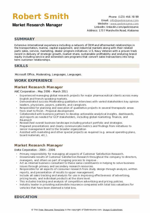 Market Research Manager Resume example
