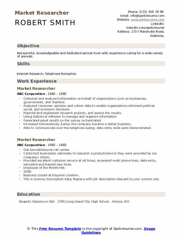 Market Researcher Resume example