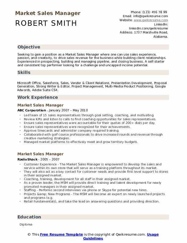 market sales manager resume samples