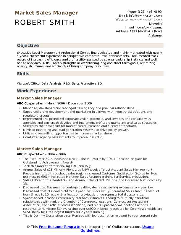 Market Sales Manager Resume example