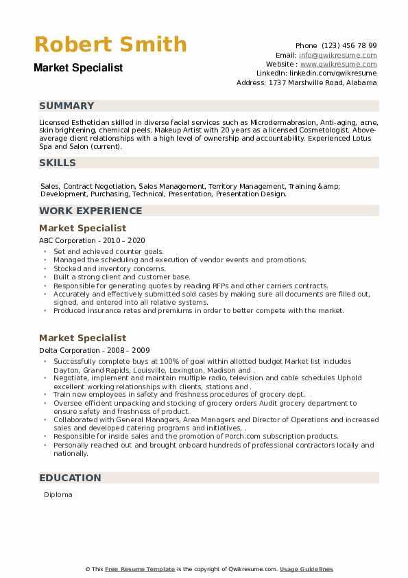 Market Specialist Resume example