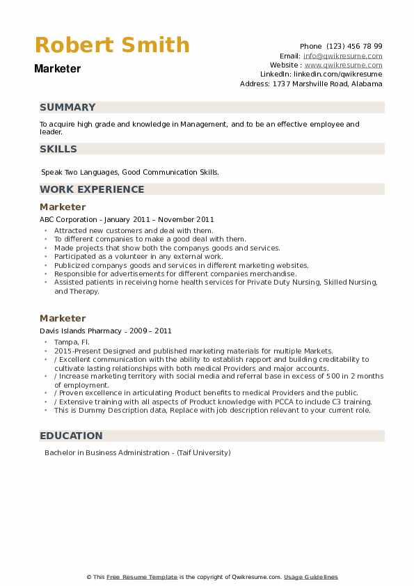 Marketer Resume example