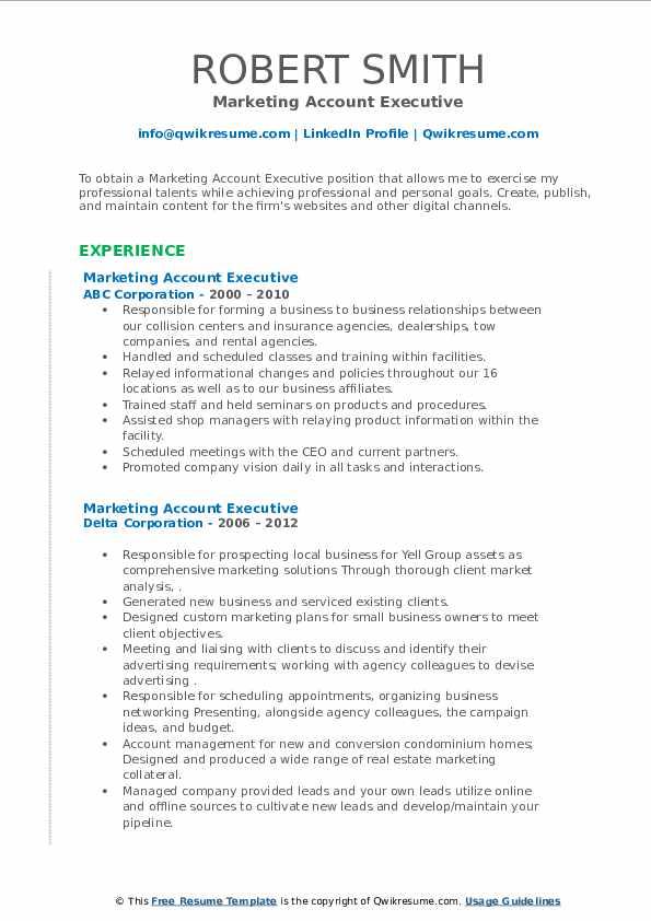 marketing account executive resume samples  qwikresume
