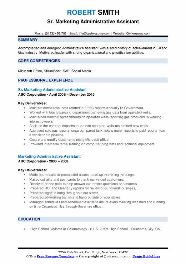 Sr. Marketing Administrative Assistant Resume Example