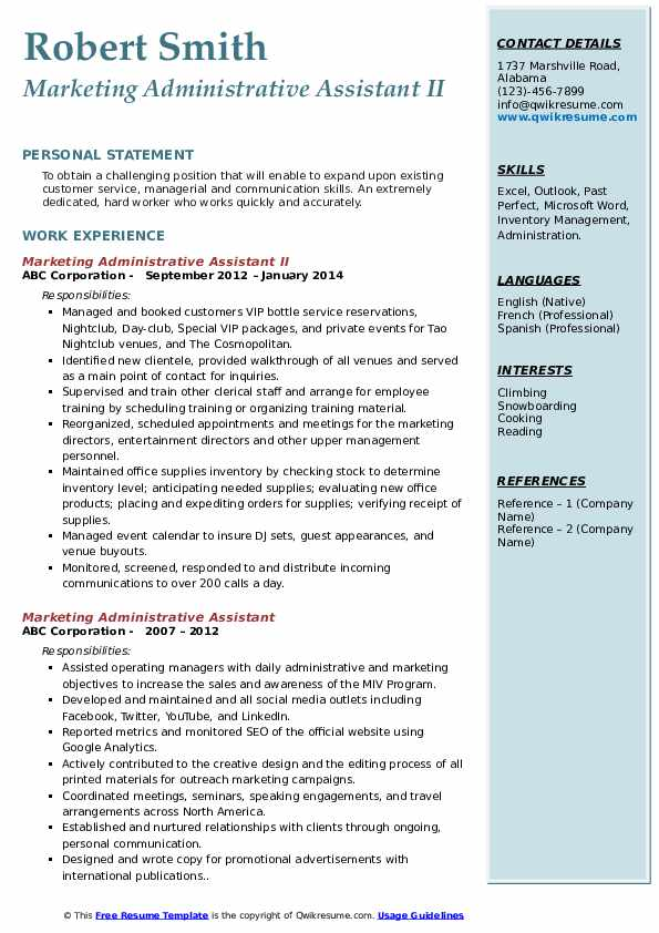 Marketing Administrative Assistant II Resume Example