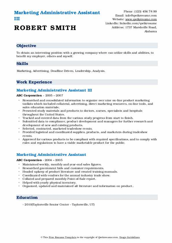 Marketing Administrative Assistant III Resume Format