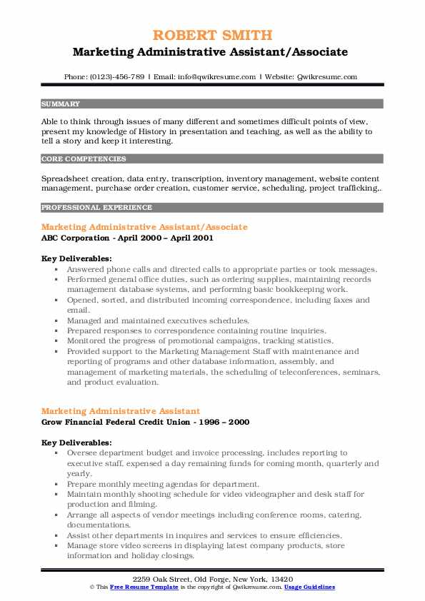 Marketing Administrative Assistant/Associate  Resume Example