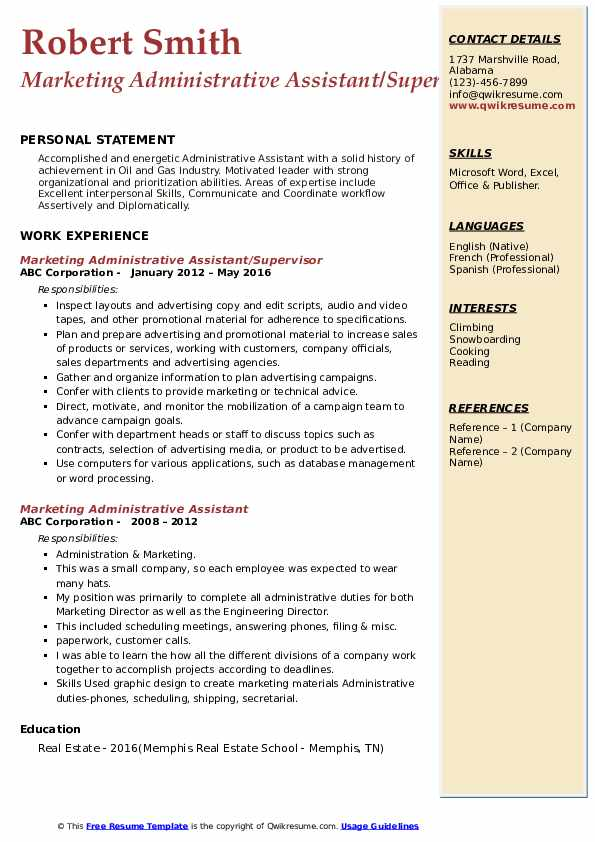 Marketing Administrative Assistant/Supervisor Resume Example