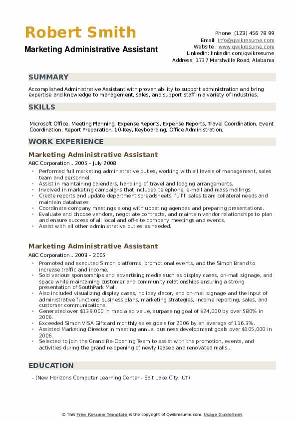 Marketing Administrative Assistant Resume example