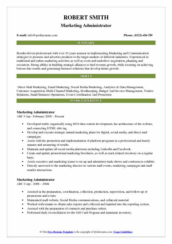 Marketing Administrator Resume Template