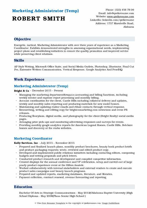 Marketing Administrator (Temp) Resume Template