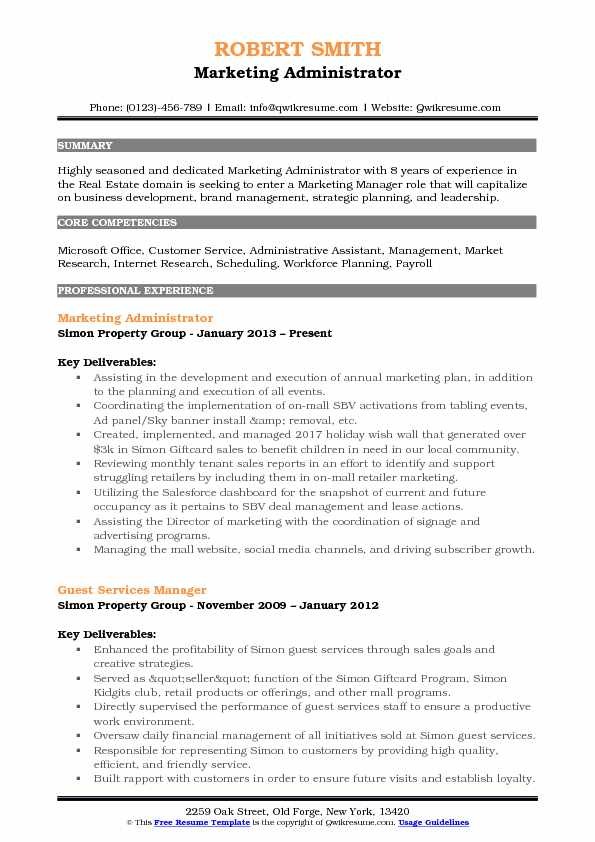 Marketing Administrator Resume Example