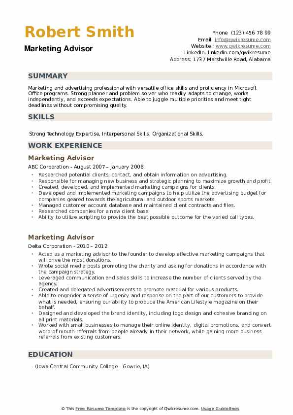 Marketing Advisor Resume example