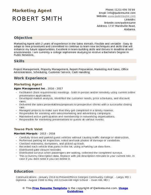Marketing Agent Resume Format